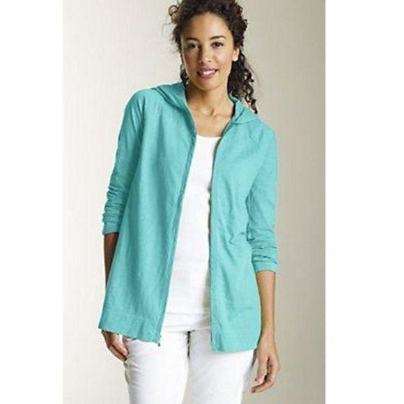 J. Jill Jackets & Blazers - J. Jill Teal Zip Front Slub Hoodie Jacket Women XS